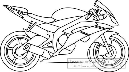 Motorcycle Black And White Motorcycle Clipart Outline Pencil And