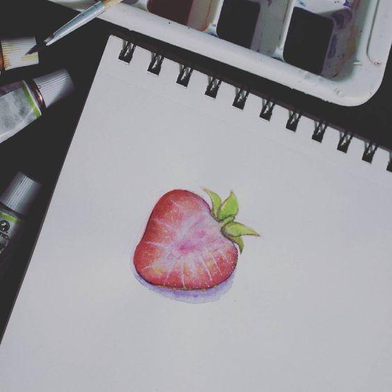 🍓 #strawberrie #fresa #drawing #watercolor #instaart #instagood #sketchbook