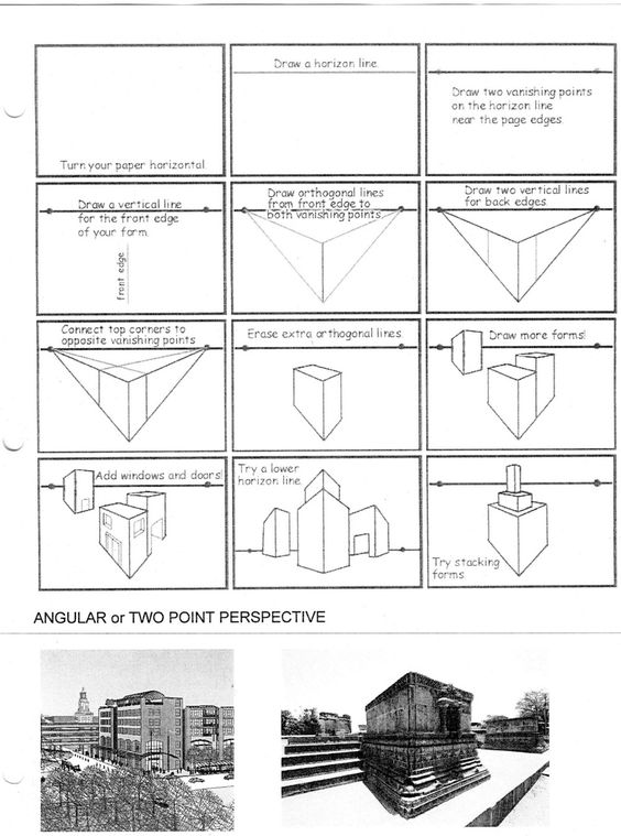 one point perspective worksheet | ... and a letter in 2 point ...