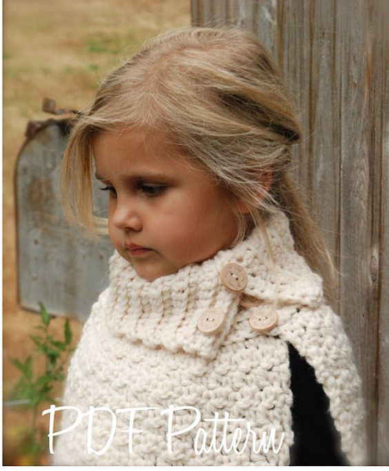 Crochet PATTERN-The Finleigh Cape (12/18 months, Toddler, Child, Adult sizes)