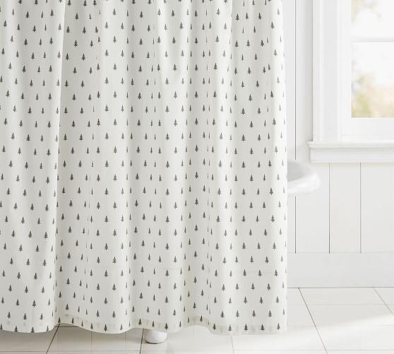 pine tree organic shower curtain tree