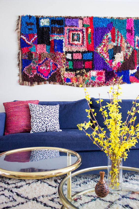 Hang a rug as art. Boucheroutie on the wall, Beni Ourain on the floor. Nice! www.etsy.com/shop/pinkrugco: