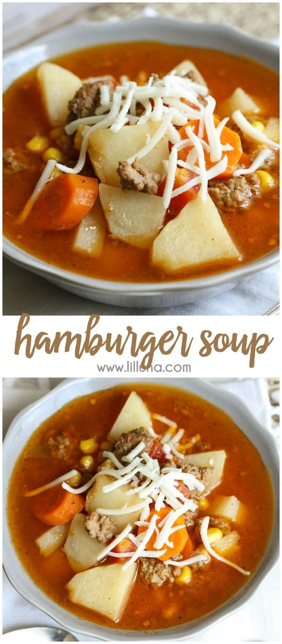 delicious Hamburger Soup that is filled with corn, carrots, potatoes ...