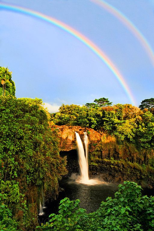 Double #rainbow #waterfall in #Hawaii | A beautiful ...