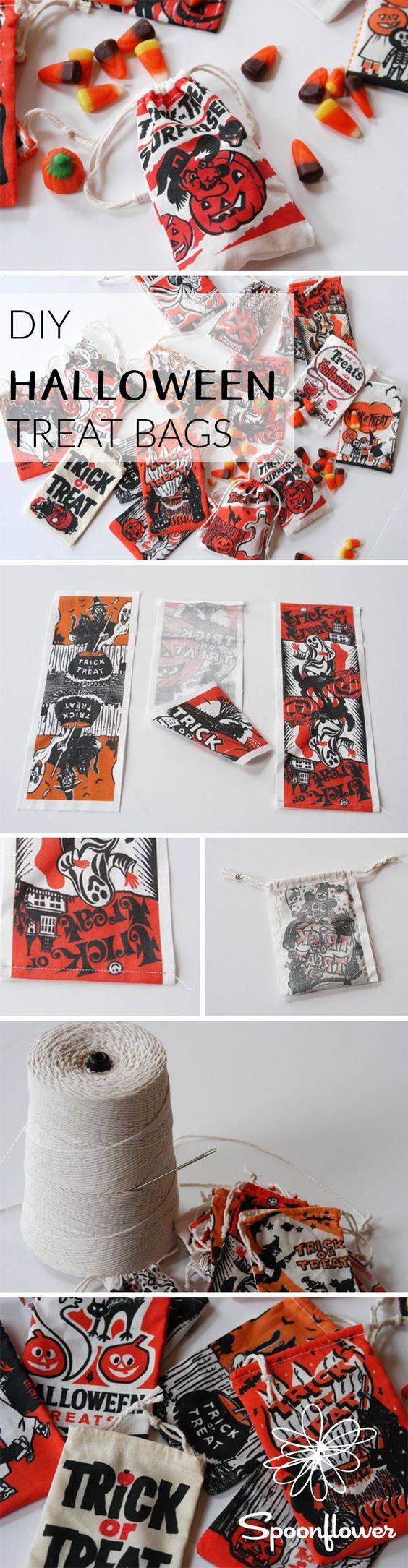 Cut and sew Halloween treat bags that are easy and fun to make!