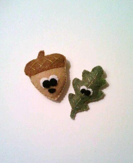 Archie the Acorn and Eric the Leaf Felt by heartfeltbymsmegas, $12.00
