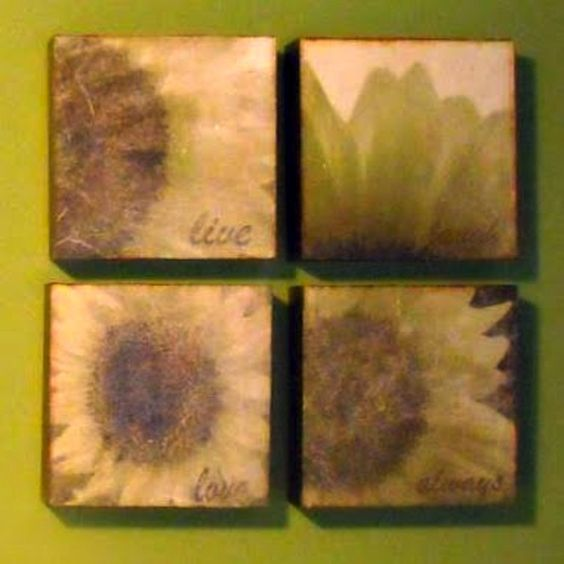 Budget sunflower wall art make with napkins and Mod Podge.