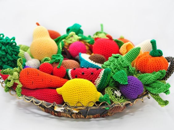 ... like these. We can teach her using them! 35 Crochet Play Food Patterns