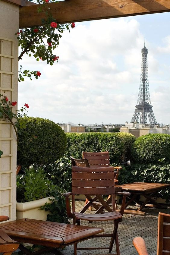 This romantic rooftop terrace has perfect eiffel tower for Hotels by the eiffel tower