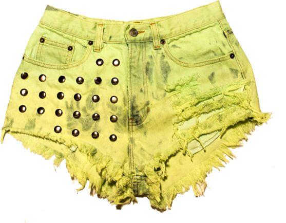 Short jeans amarelo com tachas M
