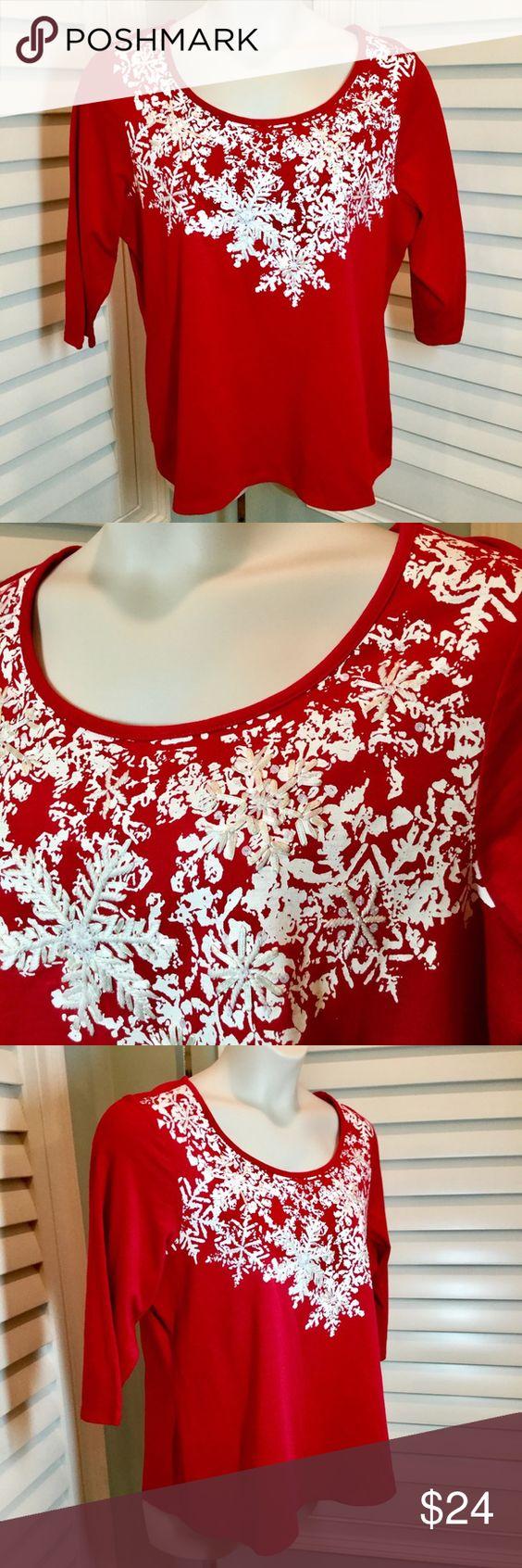 Coldwater Creek Snowflake Tee 1x Euc Clothes Design Fashion Design Fashion