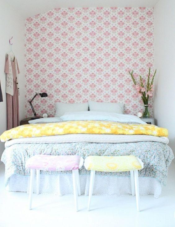 kleines Schlafzimmer Bett Kopfteil selber machen Tapeten Cozy - schlafzimmer selber machen