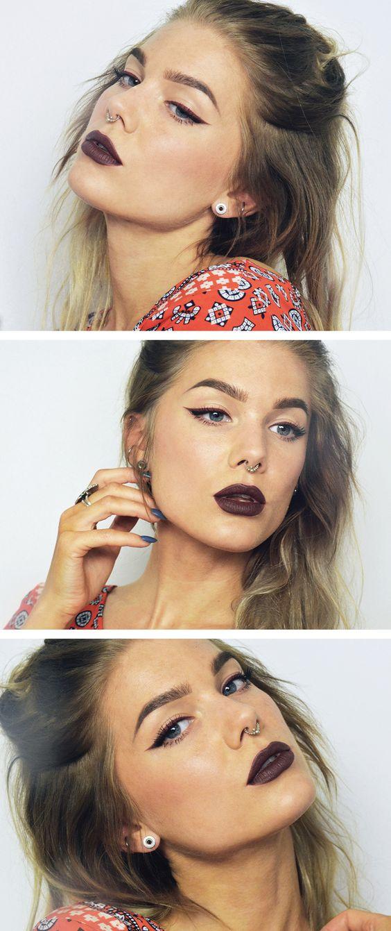 // Catsuit | Linda Hallberg // Looks like I'll be needing a maroon eyeliner in my life.