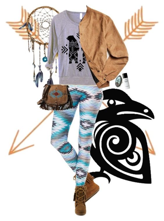 """Thunderbird Teen"" by rachael-aislynn ❤ liked on Polyvore featuring Minnetonka, Goldsheep, American West, Native Youth, Byredo, Boots, bag, comfy and pattern"