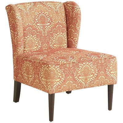 Annie Wing Chair - Coral Damask