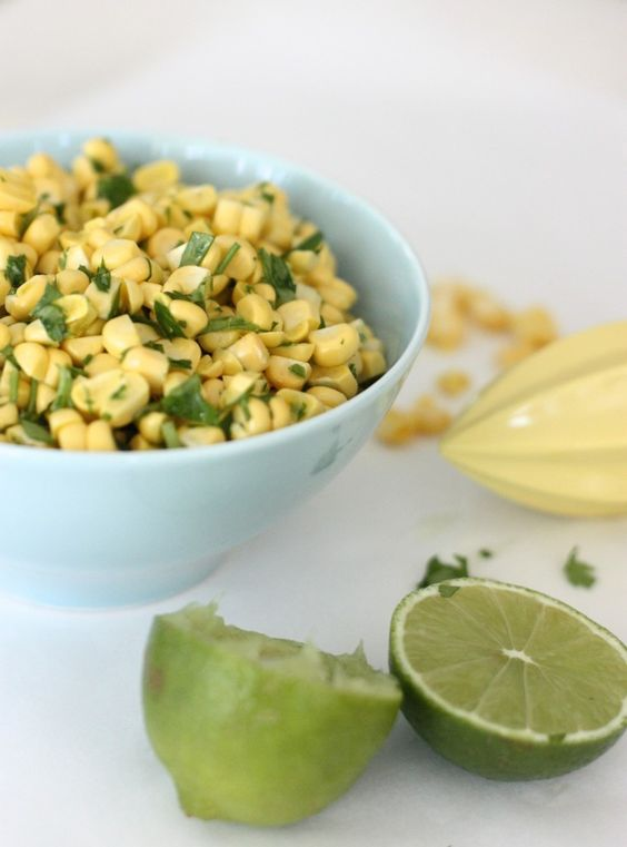 Sweetcorn and Lime Salsa – you'll have this made in 10 minutes - tops.  Fresh, natural ingredients at their best and gloriously pretty too | marmaladeandme.com