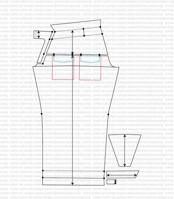 Pantalón tejano sin costuras laterales y bragueta de pequeño puente