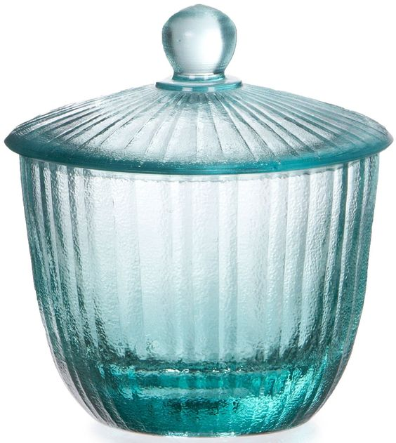 Recycled Glass Small Jar Turquoise Bathroom Accessory Sets Guest Bathroom Decor