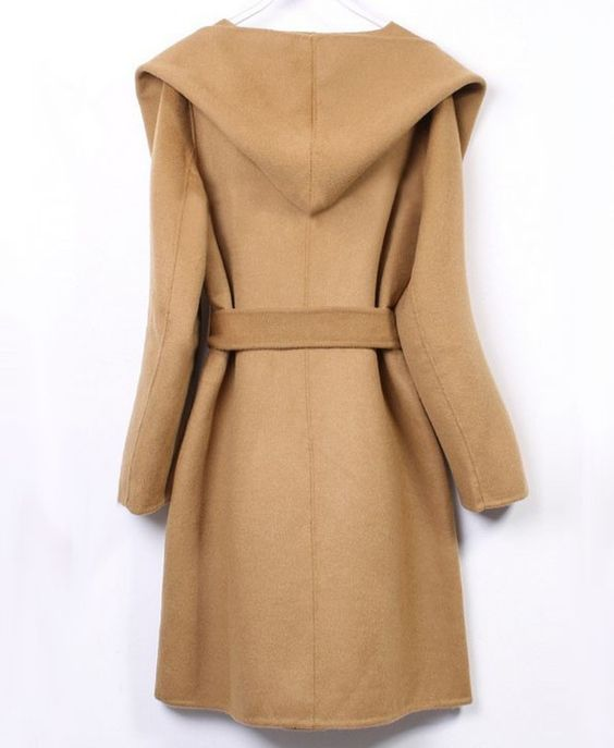 Hooded Long Woolen Coat with Waistband - Jackets & Coats - Clothing