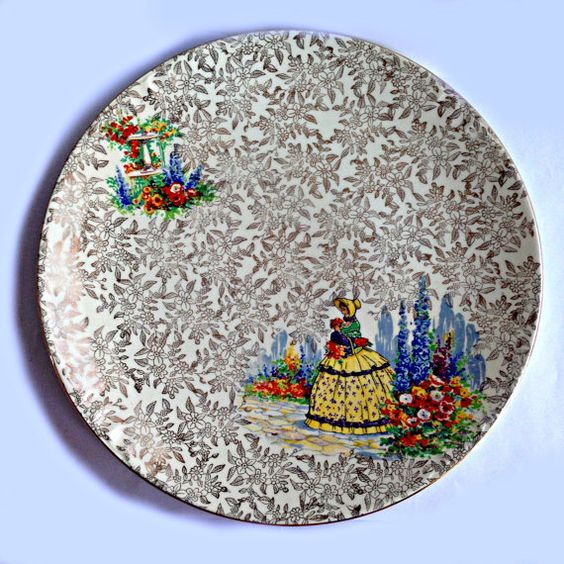 """Charming 1930's English 9"""" Cake Plate by Empire Shelton Ivory Ware. Crinoline Lady in Cottage Garden with Gold Chintz"""