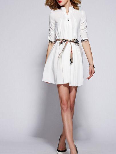 robe avec cordon manches mi-longue -blanc