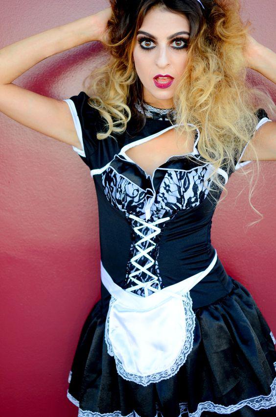 Magenta Rocky Horror Picture Show - DIY Halloween Costumes  #magenta #diyhalloween #halloweencostumeideas #halloweenideas #diycostumes #frenchmaidoutfit #frenchmaidcostume #magentarockyhorror #maccosmeticsmakeup #lafashionblogger