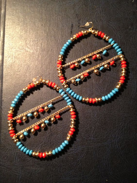 Beaded Wire Hoops by srencher on Etsy, $4.00