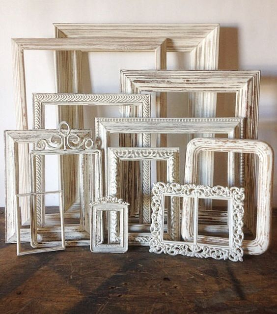 Rustic Wall Decor Set : Empty picture frames set of antique white shabby chic