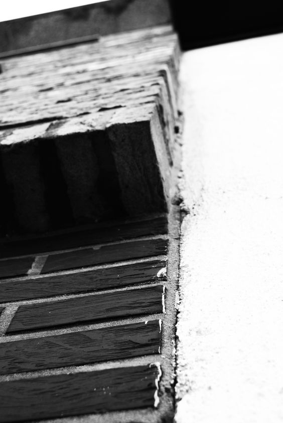 Vlak: Stuk muur. Door dat de bakstenen grenzen met een wit vlak wordt het contrast groter.