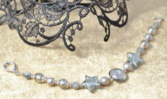 Pearl, Gemstone & Murano Glass Bracelet £30.50