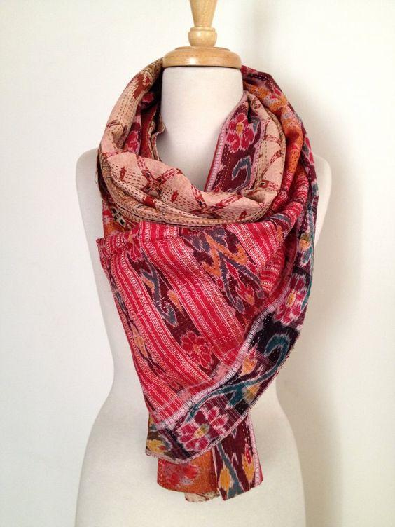House of Wandering Silk | Kantha sari scarves