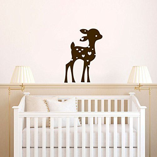 Deer Baby Fawn Silhouette With Custom Monogram Name Vinyl Wall - Custom vinyl wall decals deer