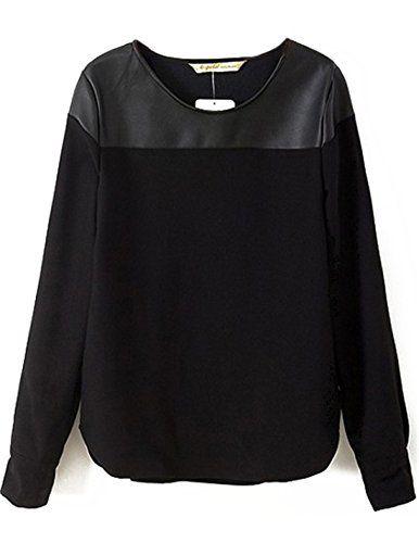 Sheinside® Women's Black Long Sleeve Contrast PU Blouse (Asian S, Black) Sheinside http://www.amazon.com/dp/B00M6QOJGW/ref=cm_sw_r_pi_dp_Nkouwb0AEC2Y0
