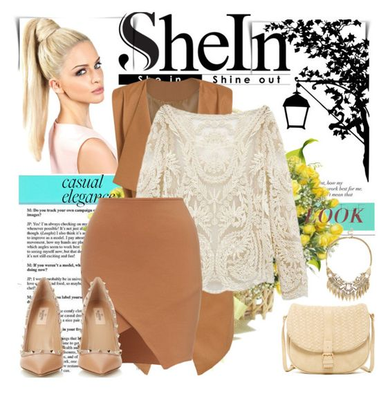 """""""SHEIN BEIGE LACE BLOUSE"""" by avete ❤ liked on Polyvore featuring Sole Society, Deux Lux, Valentino, DENY Designs, women's clothing, women, female, woman, misses and juniors"""