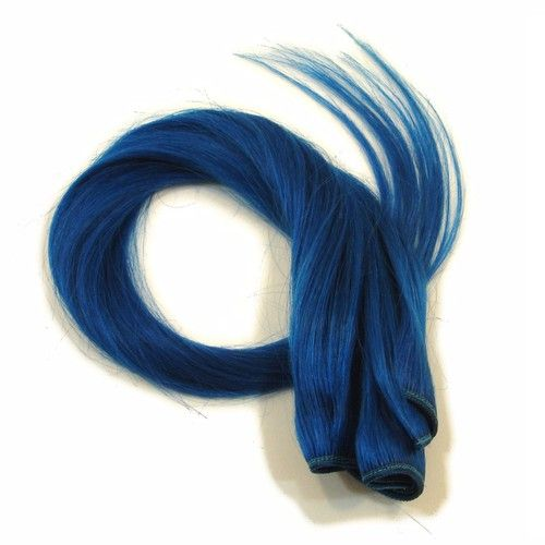 """20"""""""" Remy Human Hair Wefts by the Foot, Bright Blue"""