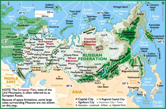 russia | detailed physical map of russia back to physical maps of russia