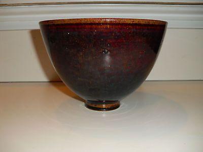 Signed-SCHEIER-Studio-Pottery-Bowl-w-Brown-Glaze-circa-1960-RARE