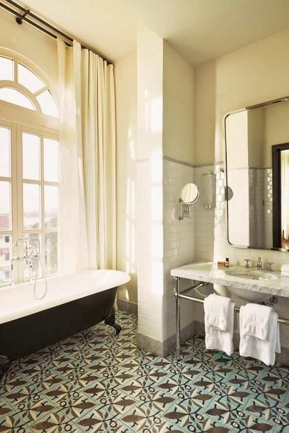 Bathroom Design Ideas Clawfoot Tub Cement Tile Flooring Large Window
