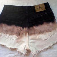 Calvin Klein Ombre Trifecta High Waist Shorts Frayed