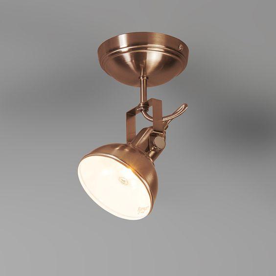 Strahler tommy 1 kupfer strahler innenbeleuchtung for Lampen kupfer