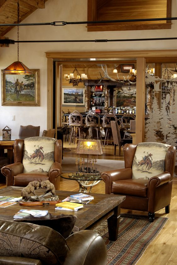 Rustic Western Ranch Home Love The Cowboy Chairs And The Antler Chandeliers Furniture I