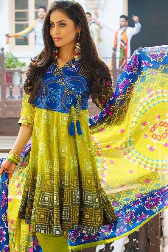 Stitching Styles Of Pakistani Dresses Blue Angrakha Style Frrock