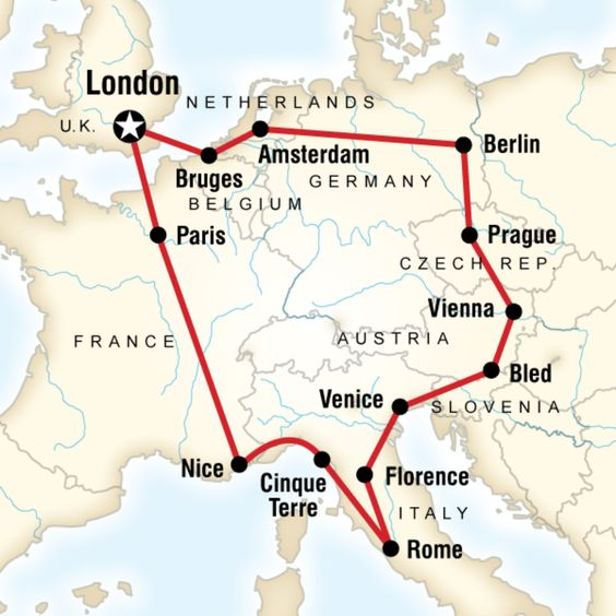 Map of the route for Austria Belgium Czech Republic France Germany – Train Map of Belgium