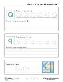 math worksheet : kindergarten worksheet for tracing letter q q is for quilt  : Kindergarten Worksheet Generator