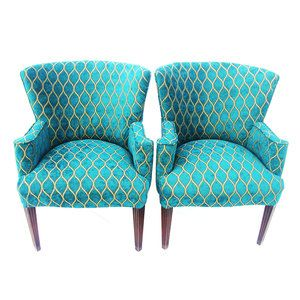 turquoise chenille with a bold geometric pattern