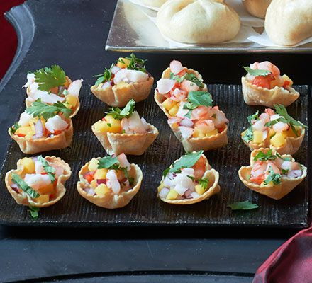 Corn cups with prawns mango chillies recipe spicy for Hot canape ideas