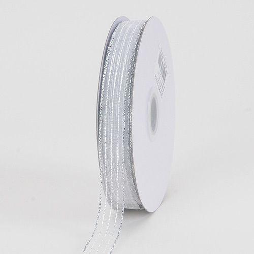 Ribbon - White Silver Line - Corsage Ribbon