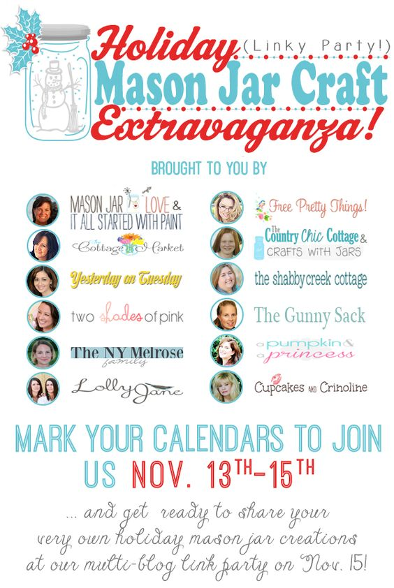 Mason Jar Craft Extravaganza: Mason Jar Ideas and Inspiration and a linky party on Nov 15th
