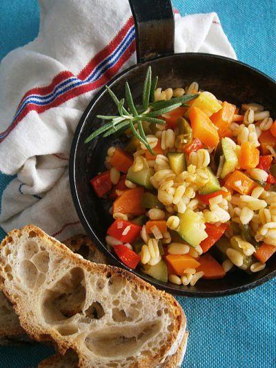 poêlée minute de légumes (courgette, poivron, carotte) et blé