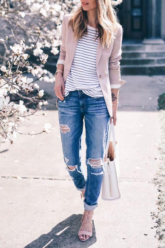 blush blazer and boyfriend jeans: